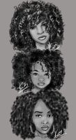 Natural Hair Sketches by KiraTheArtist