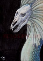 Skull serpent ACEO by thedancingemu