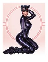 Catwoman Pin-Up by pinkhavok