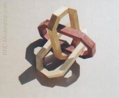 Borromean Rings in wood by RNDmodels