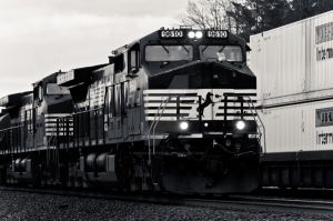 Norfolk Southern Locomotive Black and White by missconceitedme