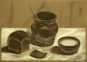 Still life with bread and milk by Cunami-in-october