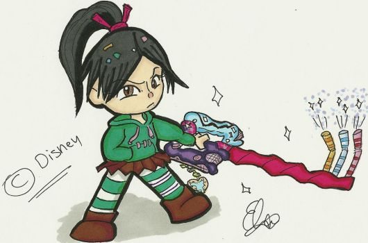 Vanellope with Keyblade by Project-GAME