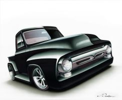 Custom Ford F100 Drawing by PinstripeChris