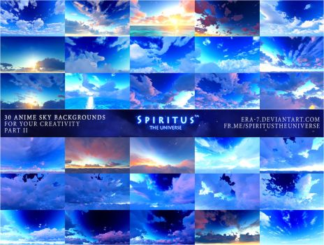 30 ANIME SKY BACKGROUNDS - PACK 7 by ERA-7
