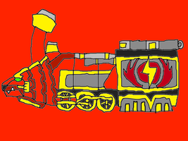 Infra Red Lion Train Zord by conlimic000