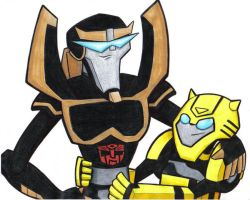 animated prowl and bumbles by prisonsuit-rabbitman