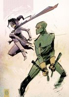 Hit-Girl and Kickass by MikeOppArt