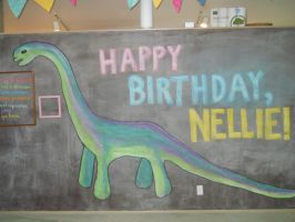 Birthday Party Chalkboard Dinosaur by jysalia