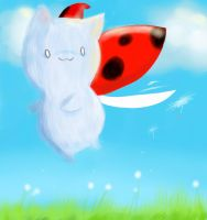 Catbug and the dandelions by Mowaria
