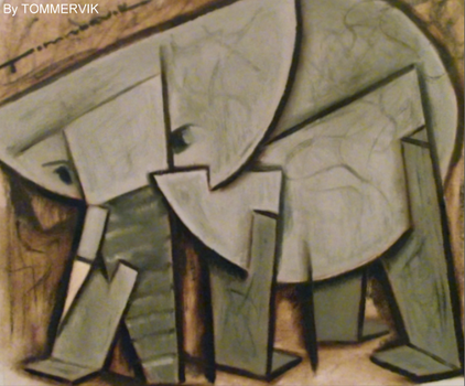 elephant abstract art oil painting on canvas 2012 by TOMMERVIK