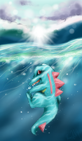 Totodile in Bubbles by PawsforHead