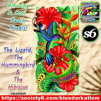 The Gecko, The Hummingbird  the Hibiscus by Bluedarkat