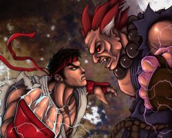 Ryu VS Akuma by jpzilla
