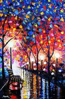 Rain in the Park Afremov Style by Enide-Kant