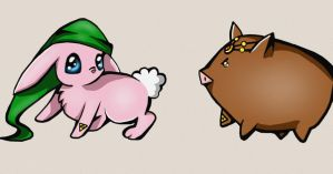 Link Bunny and Ganondorf Piggy by OoSunnyBunnyoO
