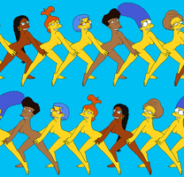 The Simpsons - Conga Line nude wallpaper by Chesty-Larue-Art