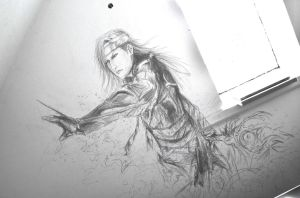 Caius Ballad Final Fantasy XIII 2 Wall drawing by Nati13321