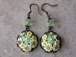 Polymer Clay Floral Applique Earrings by CharanCreations