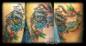 Ship in a bottle by state-of-art-tattoo