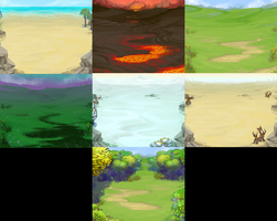 Facebook game: Mini Heroes Backgrounds by painted-bees