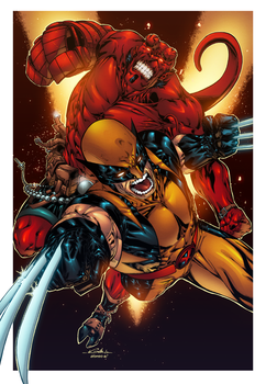 Hellboy and Wolverine by AlonsoEspinoza