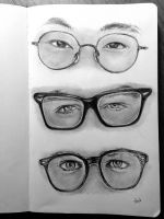 Study of Male Glasses Frames and Eyes by artistkitty88