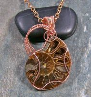 Ammonite Fossil And Copper Wire-wrapped Pendant by HeatherJordanJewelry