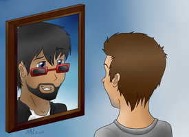 In the Mirror (CaptainSparklez FanArt) by BubblyBlackbird