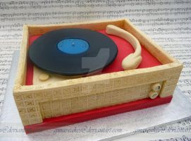 Retro Record Player Cake by ginas-cakes