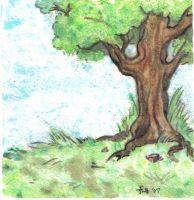 watercolor another lone tree by midniteoil