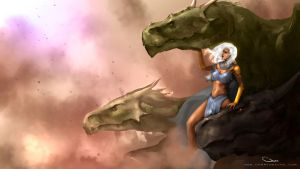 Daenerys Targaryen and Dragons, Game of Thrones by DarrenGeers