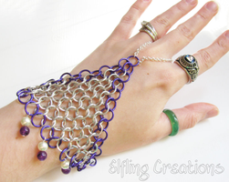 Purple and Silver Chainmaille Handflower by merigreenleaf