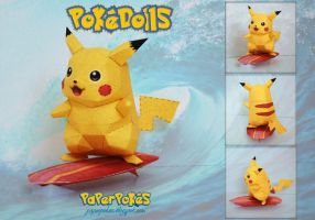 Surf Pikachu Doll Papercraft by PaperBuff