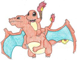 charmander on charizard by fan-of-pokemon