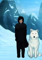 Jon Snow and Ghost by Naariel