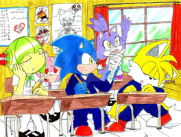 in the school (sonic) by erosmilestailsprower