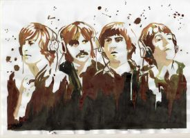 the beatles by charcoal-art