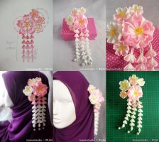 Yaezakura Tsumami Kanzashi for Hijabi Bride by rinei