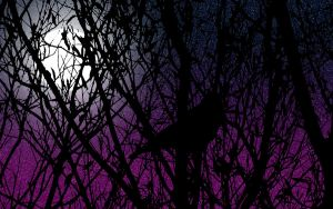 Tree at night in the moonlight by puffthemagicdragon92