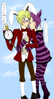 Cheshire cat and the Rabbit by iondra