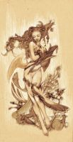 autumn goddess sketch by jurithedreamer