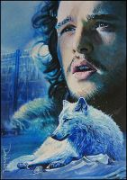 Jon Snow and Ghost by DavidDeb