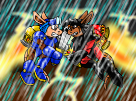 Sparkster VS Axel Gear colored by KohakuKun19