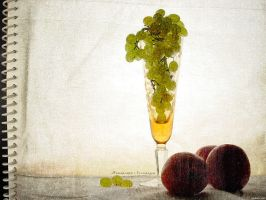 Still-life with grapes by firework