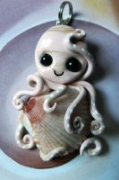 Pink Scallop Octopus Necklace by BlackMagdalena
