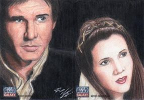 Star Wars G7 - Han Solo and Leia Sketch Card (2pc) by DenaeFrazierStudios