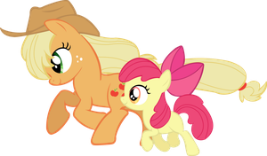 Applejack and Apple Blossom by TrueCelticHeart