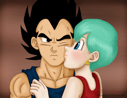 Kisses Vegeta and Bulma by mayabriefs