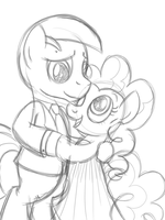Commission: Pinkie And Oc Shirt Wip by drawponies